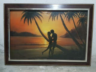 cuadro enamorados marco de madera