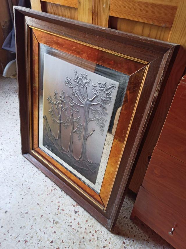 cuadro grande con espejo 70x60cm