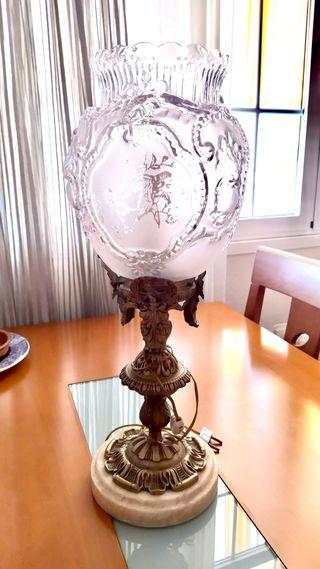 Lámpara mesa mármol bronce