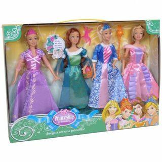 Set de 4 muñecas princesitas 30cm