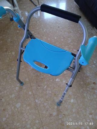 Andador para anciano plegable y dos ruedas