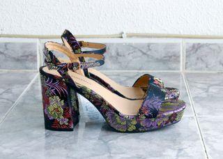 Zapatos sandalias tacón flores NUEVOS