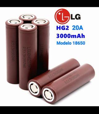 Baterías Litio 18650 LG 3000mAh 20A HG2 Nuevas