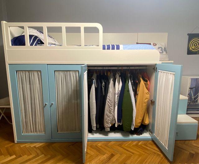 Cama alta con armario y cajones