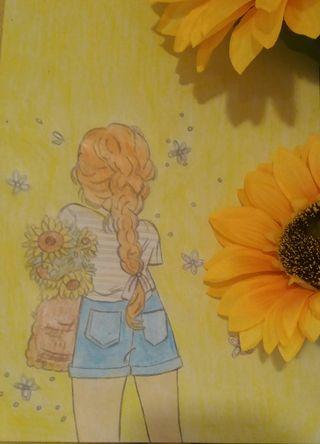 Dibujo chica girasoles