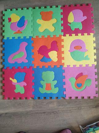 Alfombra de animales, bebé puzzle de goma