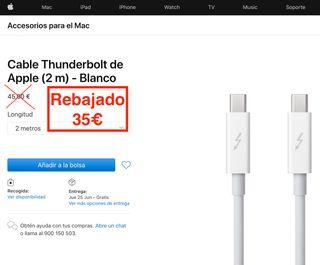 Cable Thunderbolt de Apple 2 metros NUEVO