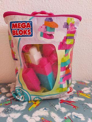 Saco piezas construcción Megabloks rosa 60 piezas