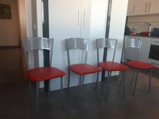 sillas de cocina rojas