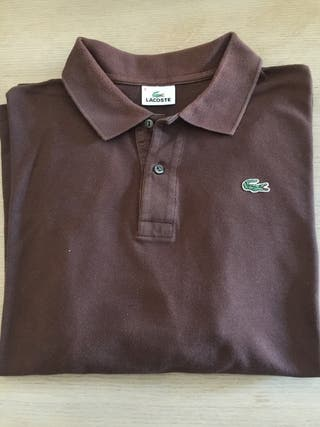 Polo Lacoste marrón t/8 manga larga