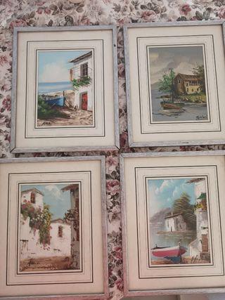 Lote 4 cuadros pequeños