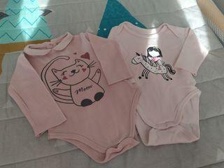 lote 2 bodies manga larga bebé 6 meses