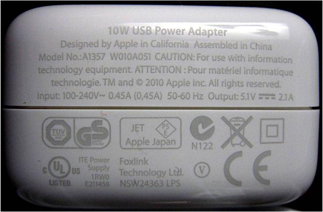 10W USB power adapter Apple
