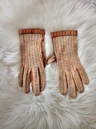 guantes de piel y ganchillo#vintage#antiguos