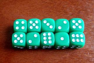 Pack 10 dados verdes 12 mm Warhammer
