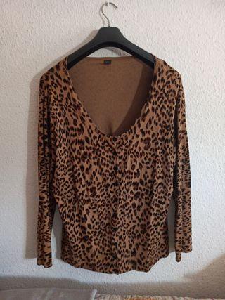 chaqueta de punto con estampado de leopardo