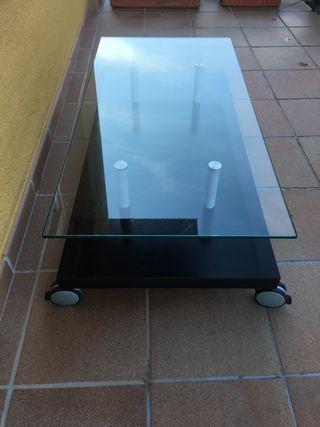 Mesa de Centro Sofa de Cristal y Madera