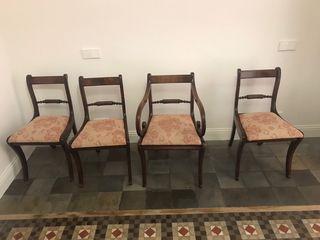 Juego de 4 sillas preciosas estilo barroco