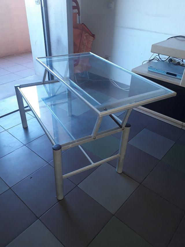 Mesa cristal elevable de centro