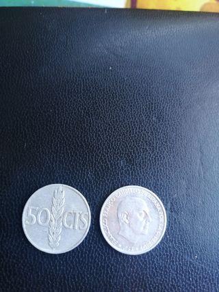 monedas de 0.50 céntimos de franco