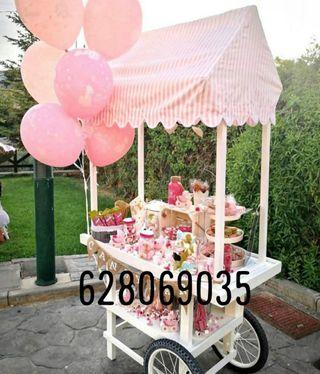 carrito Candy bar boda y mesas dulces