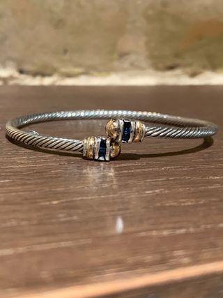 Pulsera de plata 925 y oro18k+circón azul suizo