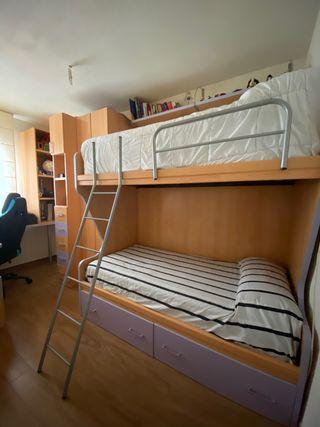 Dormitorio madera y violeta completo
