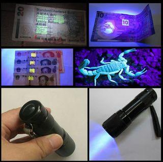 Linterna lampara portatil luz ultravioleta led