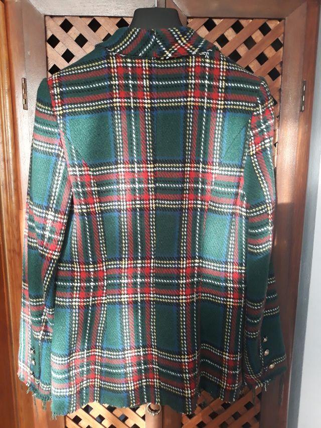 Chaqueta blazer cuadro escocés tweed
