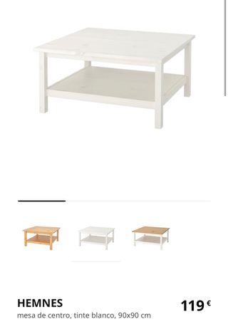 Mesa Ikea Hemnes blanco 90x90cm
