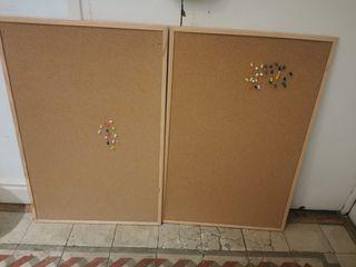 paneles de corcho con marco de madera