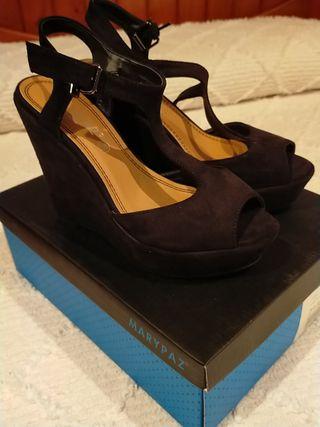 sandalias plataforma ante negro