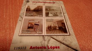 Antonio López. Hoja bloque numerada con 4 obras.