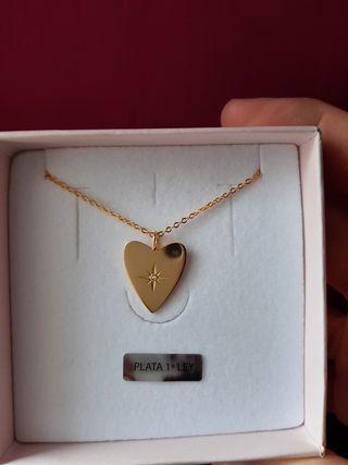 Gargantilla corazón estrella oro 925