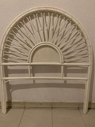 Cabecero blanco de mimbre cama 90 cm