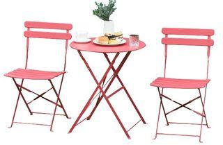 _Conjunto terraza plegable rojo