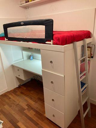 Litera con escritorio, cajones y estanteria