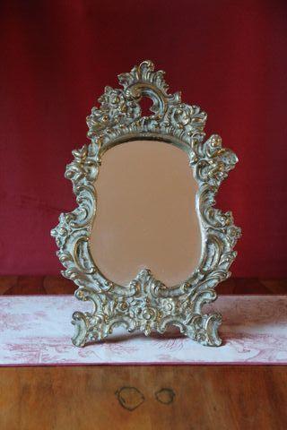 Antiguo espejo bronce estilo Luis XV, tocador