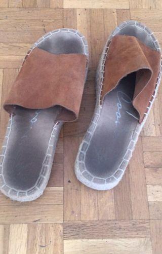 Zapatos plataforma esparto ante marron sandalias