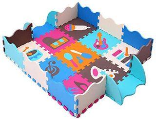 MQIAOHAM Foam Puzzle Alfombra de juego con bordes