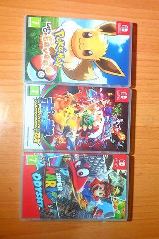 lote 3 juegos Nintendo Switch Mario y Pokemon