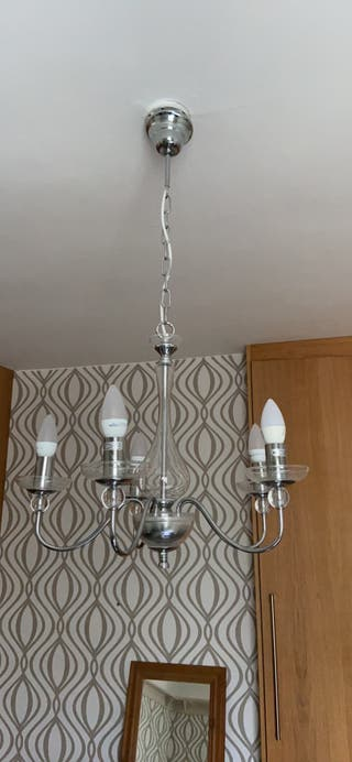 Glass and chrome chandelier light
