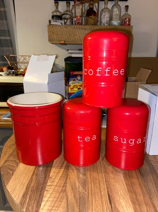House of Frazer tea, coffee, sugar containers