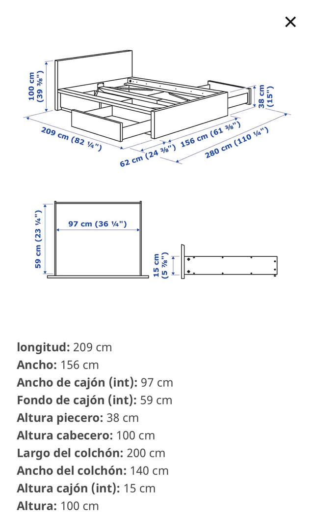 NUEVO! Cama MALM 140x200 con 4 cajones (IKEA)