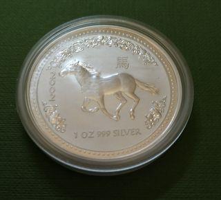 Moneda 1 dólar plata australiano 2002 - Caballo