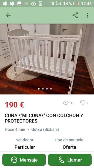 Cuna bebé de madera blanca lacada