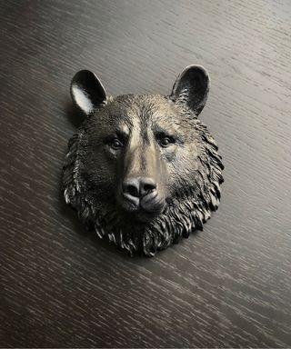 Escultura de cabeza de oso para colgar en la pared