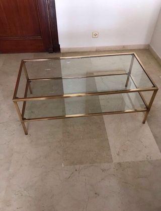 Mesa metal cristal artesanal.