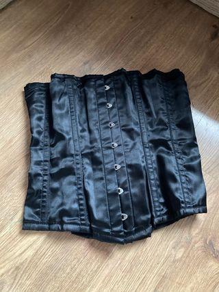 Black Steel Boned Lace Up Corset