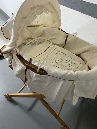 Moisés de mimbre bebé con soporte